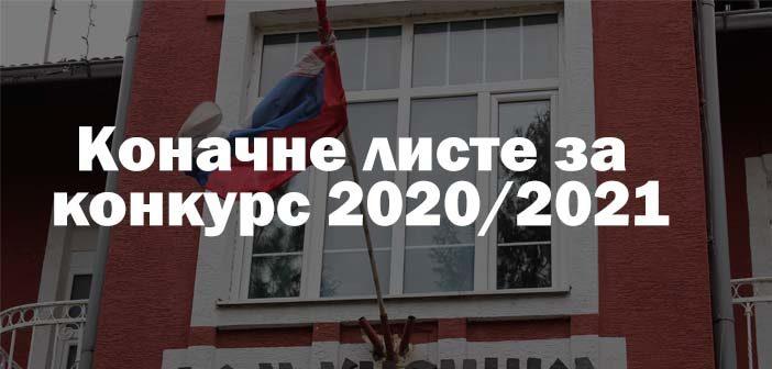 Коначне листе за конкурс 2020/2021